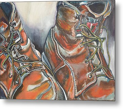 Working Man's Boots Metal Print by Stephanie Come-Ryker