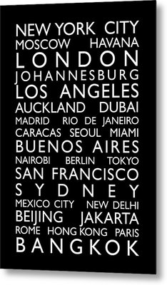 World Cities Bus Roll Metal Print