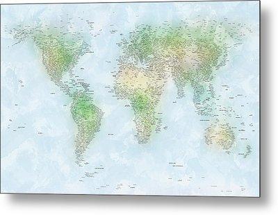 World Cities Map Metal Print