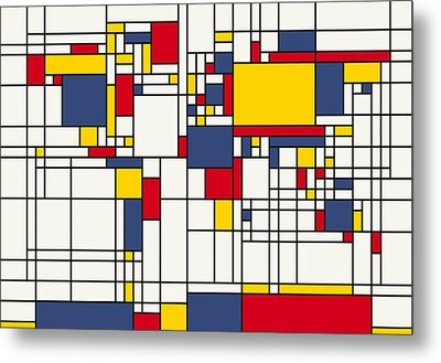 World Map Abstract Mondrian Style Metal Print