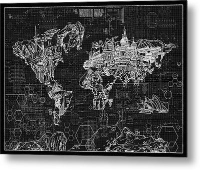 Metal Print featuring the digital art World Map Blueprint 2 by Bekim Art