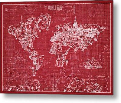 World Map Blueprint 3 Metal Print by Bekim Art
