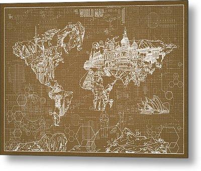 World Map Blueprint 4 Metal Print by Bekim Art