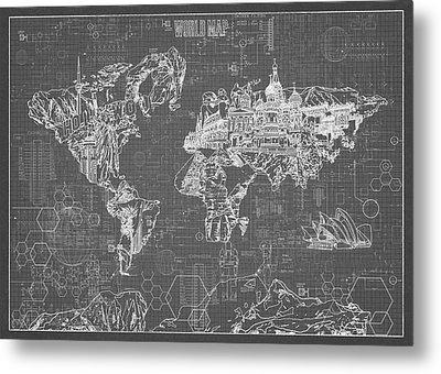 World Map Blueprint 5 Metal Print by Bekim Art