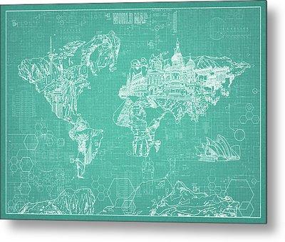 World Map Blueprint 7 Metal Print by Bekim Art
