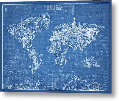 World Map Blueprint Metal Print