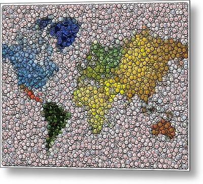 World Map Bottle Cap Mosaic Metal Print by Paul Van Scott