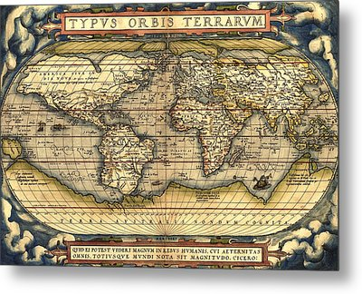 World Map From The Theatrum Orbis Terrarum 1570 Metal Print by Pg Reproductions