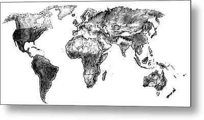 Metal Print featuring the drawing World Map In Graphite by Heidi Kriel