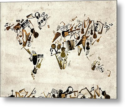 World Map Music 1 Metal Print by Bekim Art