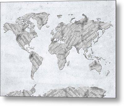 World Map Music 10 Metal Print by Bekim Art