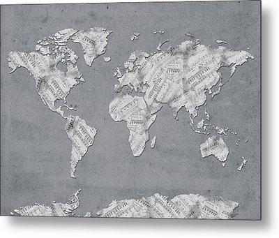World Map Music 11 Metal Print by Bekim Art