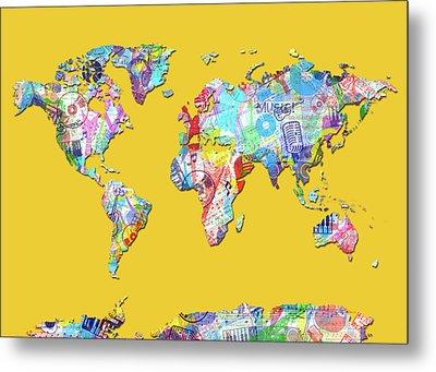 World Map Music 13 Metal Print by Bekim Art