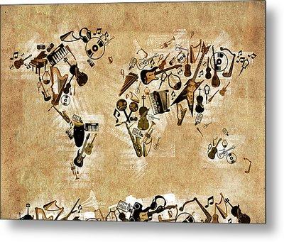 World Map Music 4 Metal Print by Bekim Art