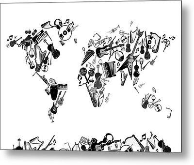 World Map Music 7 Metal Print by Bekim Art