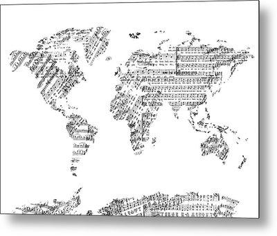 World Map Music 8 Metal Print by Bekim Art