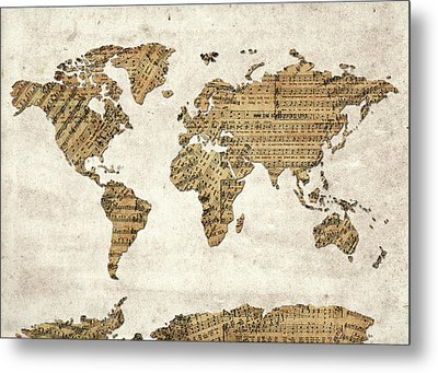 World Map Music 9 Metal Print by Bekim Art