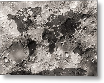 World Map On The Moon's Surface Metal Print