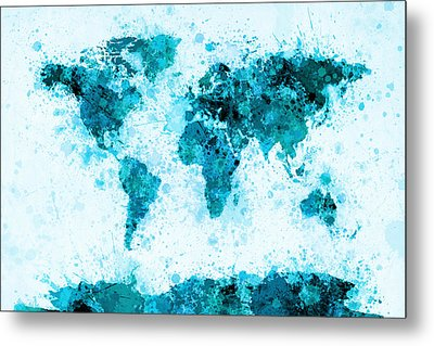 World Map Paint Splashes Blue Metal Print by Michael Tompsett