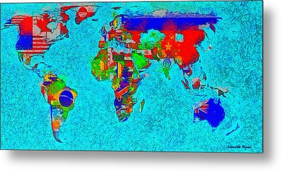 World Map With Flags - Da Metal Print
