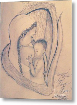 Wrapped Within The Angel Wings Of Momma Metal Print