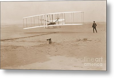 Wright Brothers First Powered Flight Metal Print by Padre Art