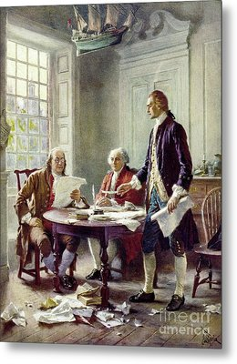 Writing The Declaration Of Independance Metal Print