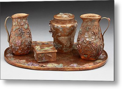 Metal Print featuring the sculpture Wyoming Wildflowers Bronze Set by Dawn Senior-Trask
