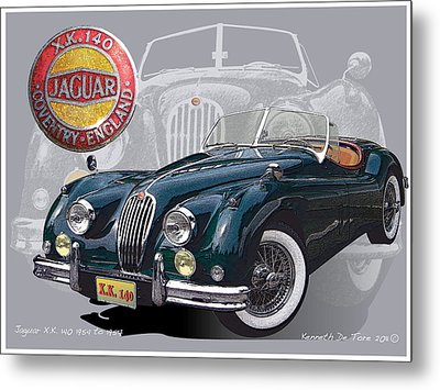 X K 140 Jaguar Metal Print by Kenneth De Tore