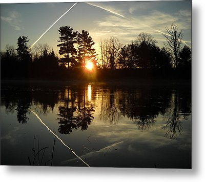 X Marks The Spot Sunrise Reflection Metal Print