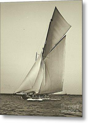 Yacht Shamrock Racing Americas Cup 1899 Metal Print by Padre Art