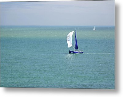Yachts Sailing In Ventnor Bay Metal Print by Rod Johnson