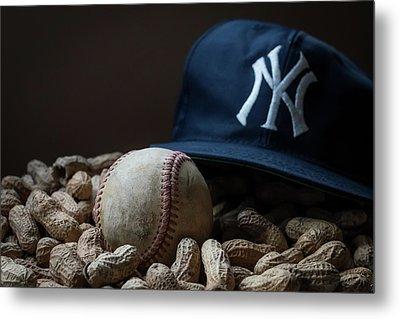 Yankee Cap Baseball And Peanuts Metal Print