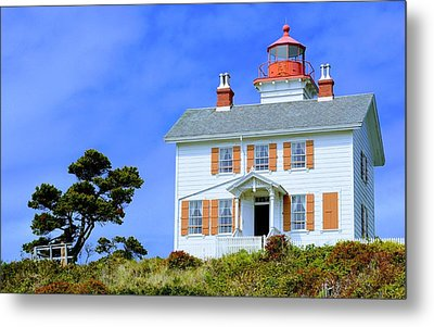 Metal Print featuring the photograph Yaquina Bay Lighthouse by AJ Schibig