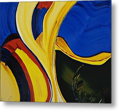 Yellow Abstract Metal Print by Gregory Allen Page