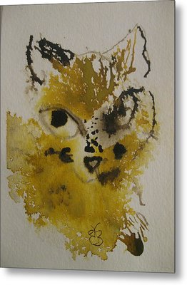 Yellow And Brown Cat Metal Print