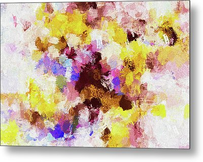 Metal Print featuring the painting Yellow And Pink Abstract Painting by Ayse Deniz