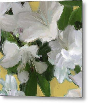 Yellow And White Flower Art 2 Metal Print