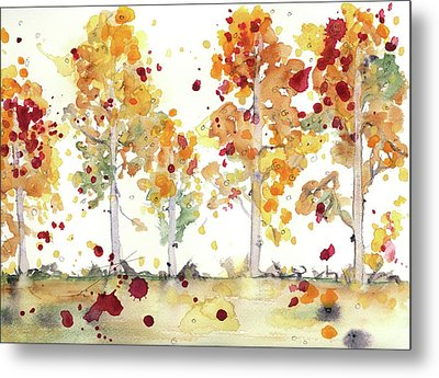 Metal Print featuring the painting Yellow Aspens by Dawn Derman