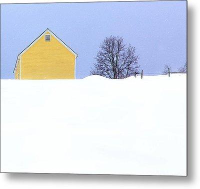 Yellow Barn In Snow Metal Print by John Vose