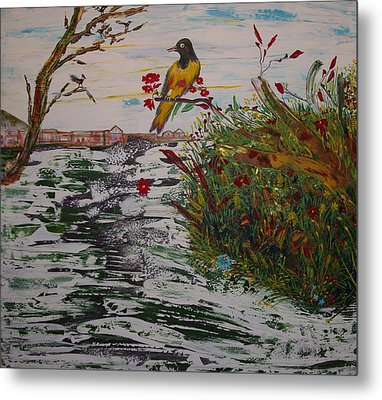 Metal Print featuring the painting Yellow Bird by Sima Amid Wewetzer