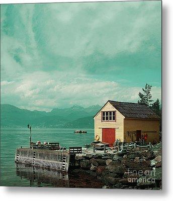 Yellow Cottage Metal Print by Sonya Kanelstrand
