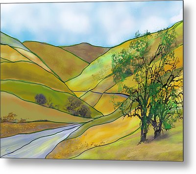 Yellow Foothills Metal Print