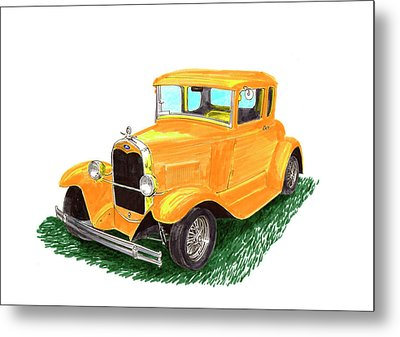 Yellow Ford Hot Rod Coupe Metal Print