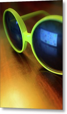 Yellow Goggles With Reflection Metal Print