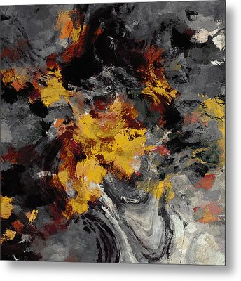 Yellow / Golden Abstract / Surrealist Landscape Painting Metal Print by Ayse Deniz