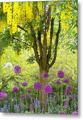 Yellow Hanging Hydrangea Tree Metal Print by Elizabeth Thomas