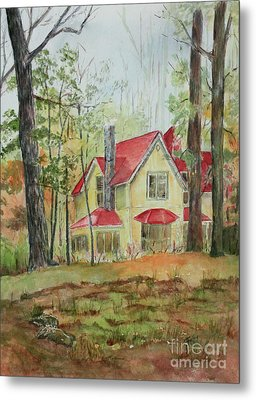 Yellow Mountain Cottage Metal Print by Janet Felts