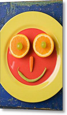 Yellow Plate With Food Face Metal Print by Garry Gay