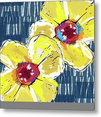 Yellow Poppies 2- Art By Linda Woods Metal Print